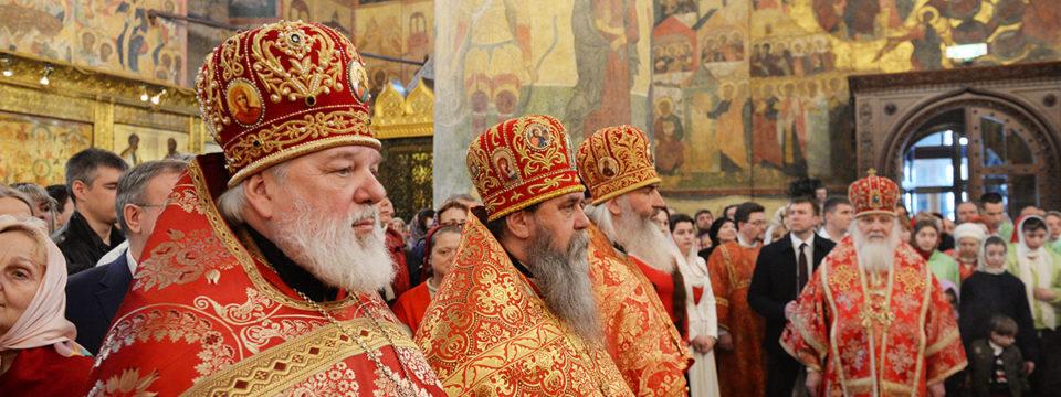 В понедельник Светлой седмицы Патриарх совершил Литургию в Успенском соборе